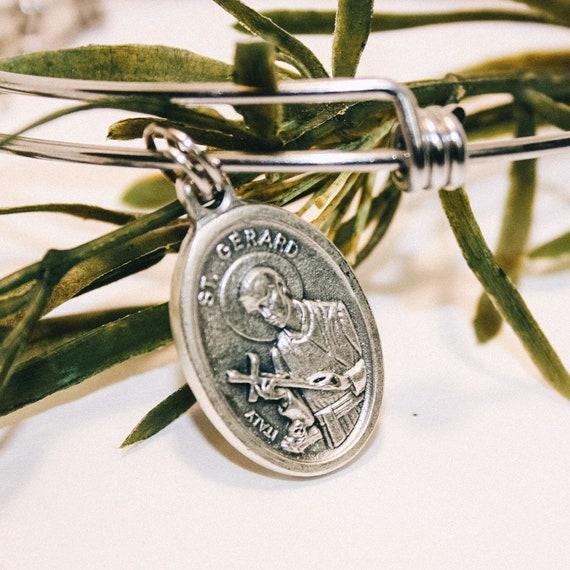 Saint Gerard Bead Bracelet| Turquoise Glass Beads| Patron Saint of Pregnancy| Conception| Safe Child Birth| Young Children| Unborn| Mom Gift