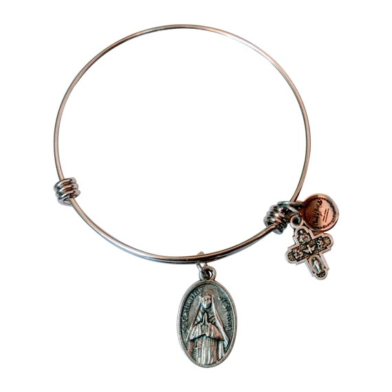 Saint Catherine of Sienna  Medal Bangle| Patron Saint of Europe and Italy| Mystic| Doctor of Church| Dominican tertiary| Catholic Gift|