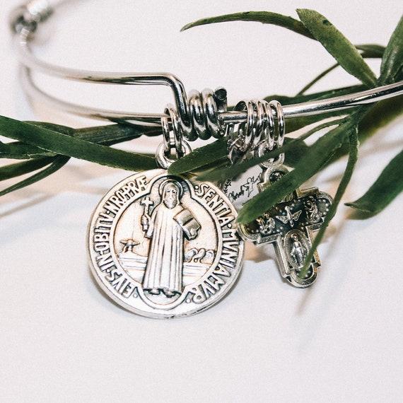 St. Benedict  Bangle| patron of a happy| Catholic Bangle| Catholic Gift