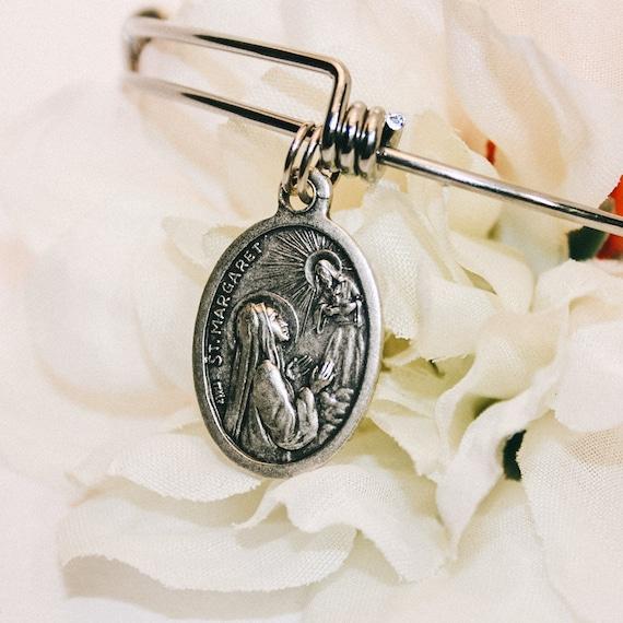 Saint Margaret Bangle| | Patron Saint of the Woman|Expectant Mothers|Child birth|Catholic Bracelets| Catholic Jewelry|Catholic Bangle