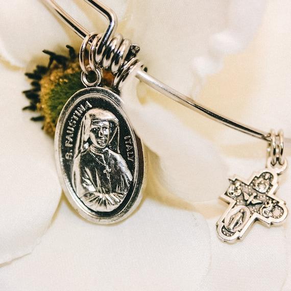 Saint Faustina Bangle|Divine Mercy|Confirmation gift| wire bracelets| Catholic Bracelets| Catholic Jewelry| Catholic Bangle