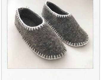 Handmade slippers made of a vintage blanket
