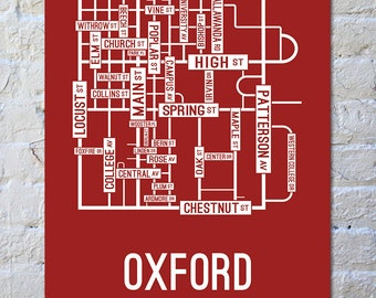 Oxford, Ohio Street Map Screen Print | College Town Map