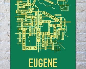 Eugene, Oregon Street Map Screen Print