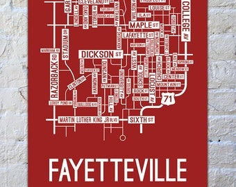 Fayetteville, Arkansas Street Map Screen Print - College Town Map
