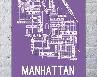 Manhattan, Kansas Street Map Poster