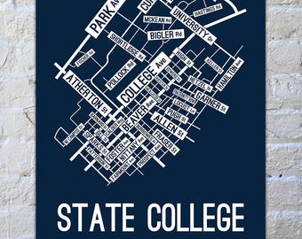 State College, Pennsylvania Street Map Screen Print | College Town Map