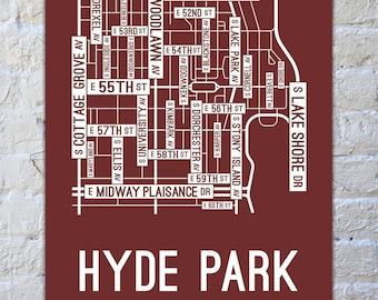 Hyde Park, Chicago Street Map Screen Print