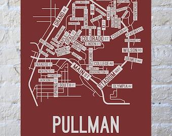 Pullman, Washington Street Map Screen Print | College Town Map