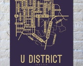 U District, Seattle, Washington Street Map Screen Print - College Town Maps