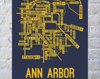 Ann Arbor, Michigan Street Map Screen Print | College Town Map