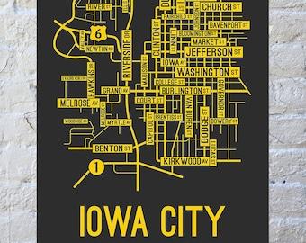 Iowa City, Iowa Street Map Screen Print - College Town Map