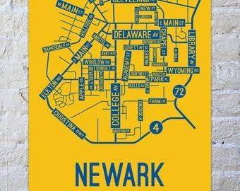 Newark, Delaware Street Map Screen Print - College Town Map