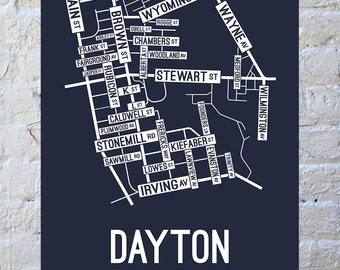 Dayton, Ohio Street Map Screen Print | College Town Map