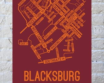 Blacksburg, Virginia Street Map Screen Print | College Town Map