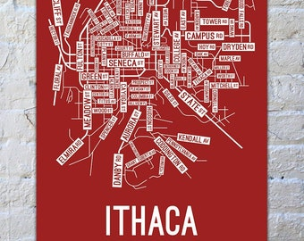 Ithaca, New York Street Map Screen Print - College Town Map