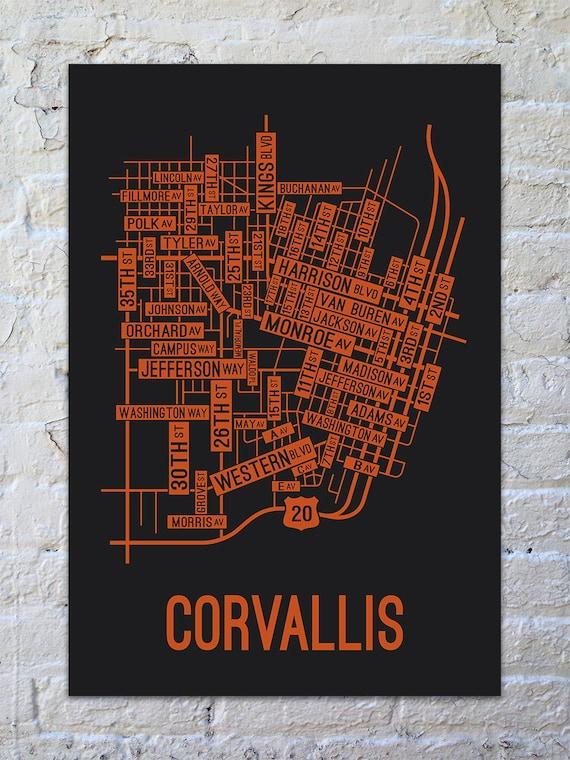 Corvalis Oregon Map.Corvallis Oregon Street Map Screen Print College Town Maps Etsy