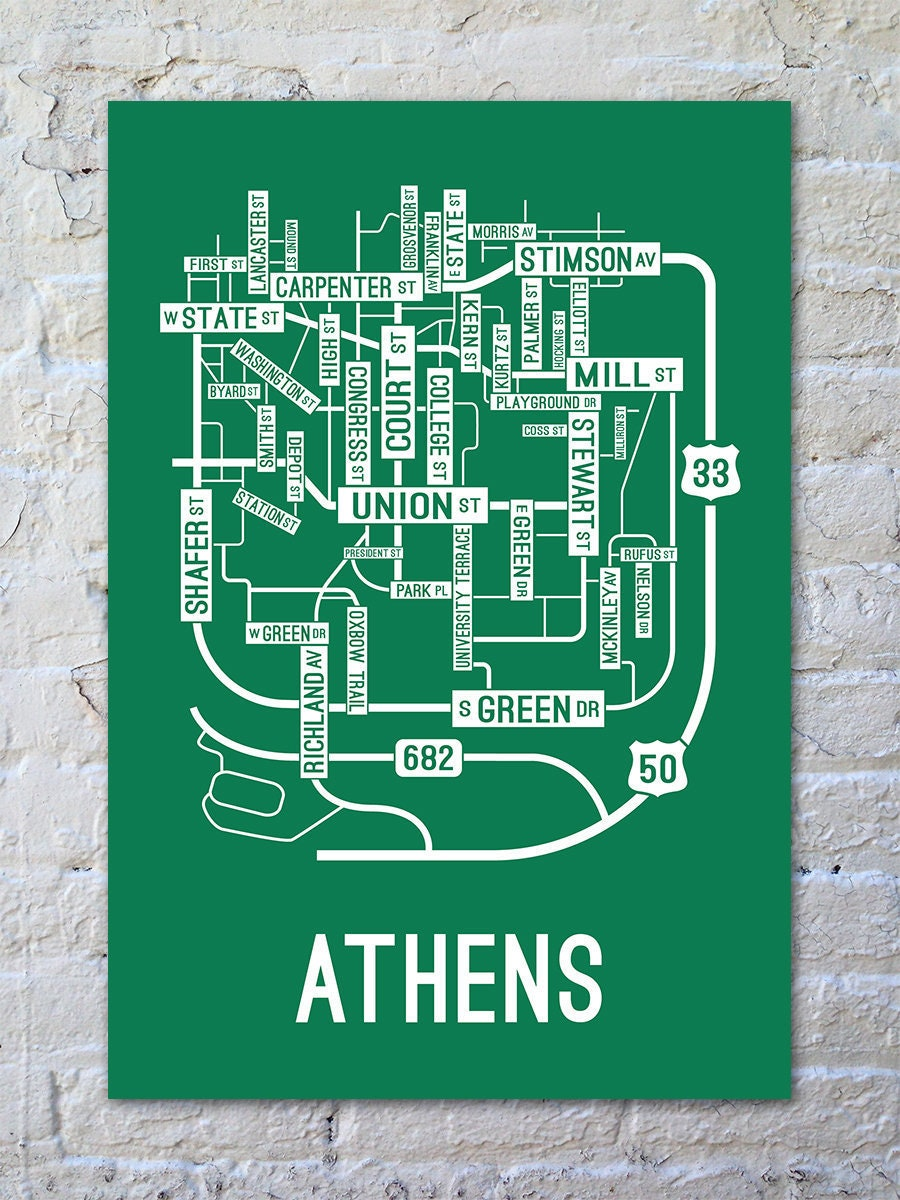 Athens, Ohio Street Map Screen Print - College Town Maps