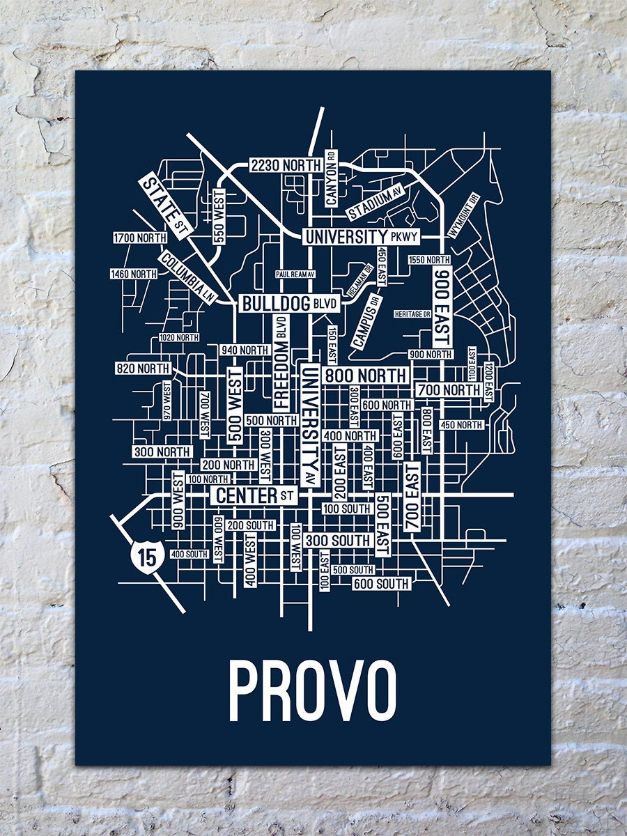 Provo Utah Street Map Screen Print College Town Maps Etsy