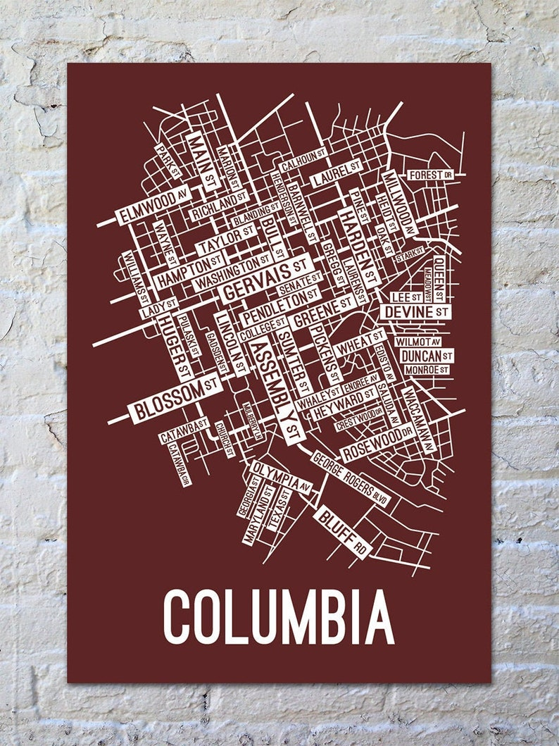 Columbia, South Carolina Street Map Screen Print - College Town Maps