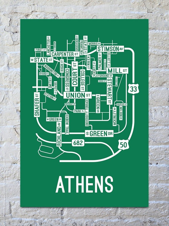 Athens Ohio Street Map Screen Print College Town Maps Etsy