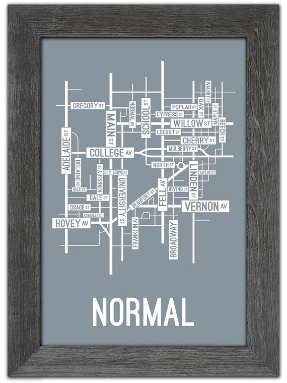Normal, Illinois Street Map Screen Print - College Town Maps on
