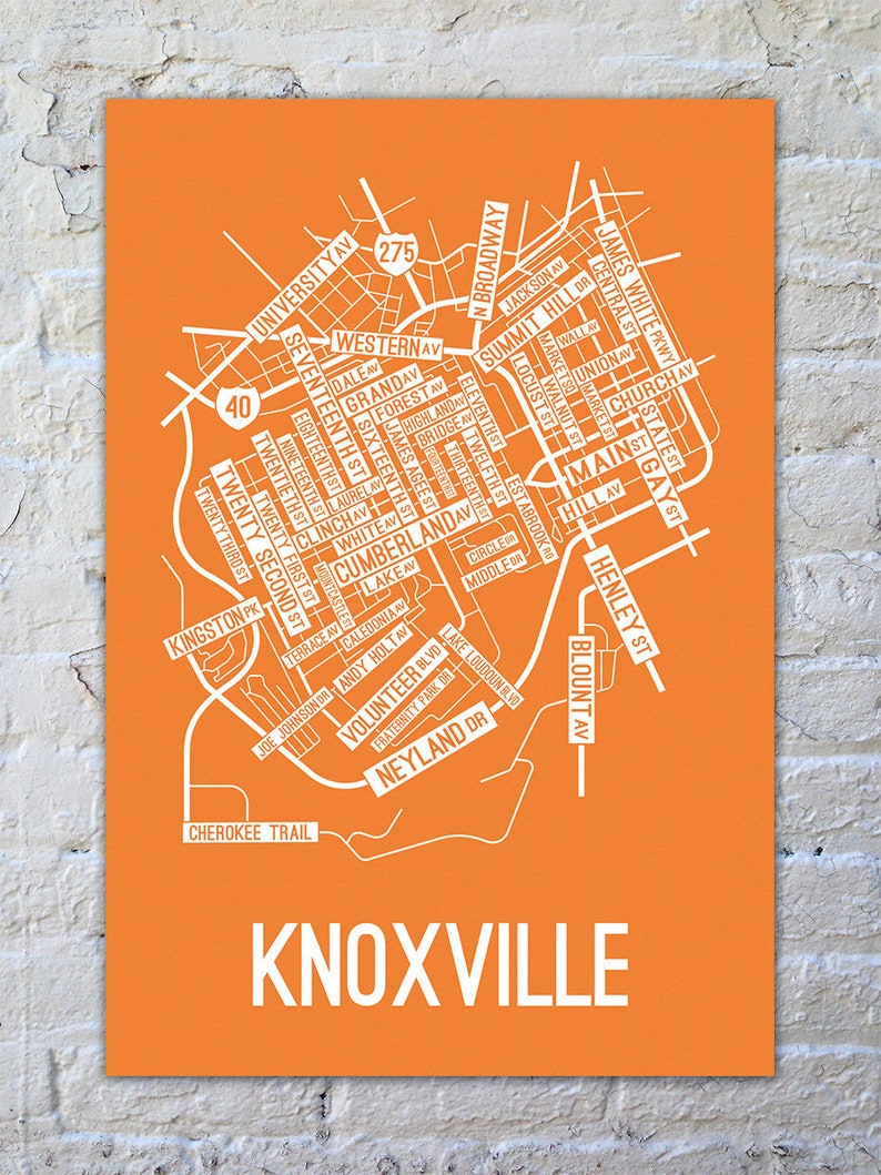 Knoxville, Tennessee Street Map Screen Print - College Town Maps on squirrel hill street map, wilbraham street map, dalton street map, langston street map, tremont street map, coralville street map, spooner street map, goddard street map, ferguson street map, mt pleasant street map, north liberty street map, wheeling street map, jefferson street map, hialeah street map, pembroke pines street map, cranston street map, kahului street map, monroe county street map, kingsport street map, keokuk street map,