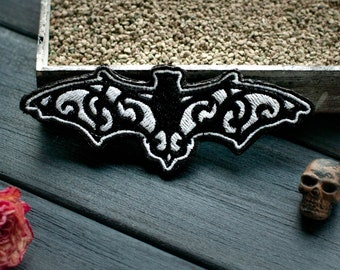 """Gothic Patch """"Bat"""", Embroidered Goth Patch, Witchery, Witch Patch, Gothic Patches, Witchcraft, Steampunk Patches Morale Patches by Boomyland"""