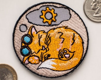 Steampunk Patch Kitty, Embroidered Steampunk Patch Steampunk Cat, Morale Patch, Cat Patch Gift for her Boomyland