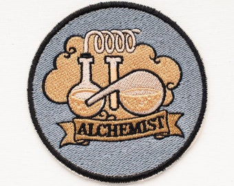 """Steampunk Patch """"Alchemist"""" - embroidered patch, alchemist, handmade, exclusive patch, patch on hooks, custom patch, steampunked"""