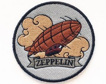 Steampunk Patch Zeppelin, Embroidered morale patch, Aircraft Patch, morale patches, custom patches, hooks and loops steampunkgirl, boomyland