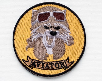Steampunk Raccoon Aviator Hat and Goggles Embroidered Patch, Steampunk Patch, Custom Patches Embroidered - Patches by Boomyland