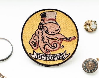 """Steampunk Patch """"Octopus"""", Embroidered Patch with Hooks and Loops, Morale Patch, Steampunk Patches and Airsoft Patches by Boomyland"""