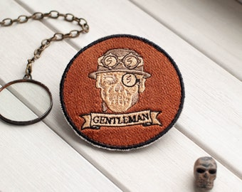 Gentleman Halloween Patch for Steampunk Party, Morale Patches, Steampunk Patch, Embroidered Patches, Funny Patch by Boomyland