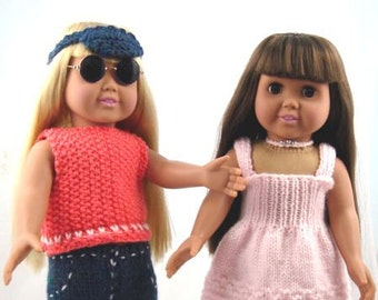 Summer Fun Wear, PDF Knitting Patterns for 18-Inch Dolls, Immediate Download, Fit American Girl Dolls