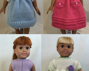 Days of the Week Dresses, Book 2 -  Knitting Patterns for 18-inch Dolls - Immediate Download - PDF - Fits American Girl Doll
