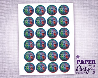 Printable PJ Masks Cupcake Toppers, Digital PJ Masks Cupcake Toppers, Printable  PJ Masks Birthday Party, Table Confetti