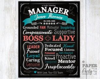 "Boss Appreciation Wall Art, Manager Appreciation Printable, 16"" x 20"" Bosses Day Gift, Boss Day Printable, Digital Bosses Appreciation Gift"
