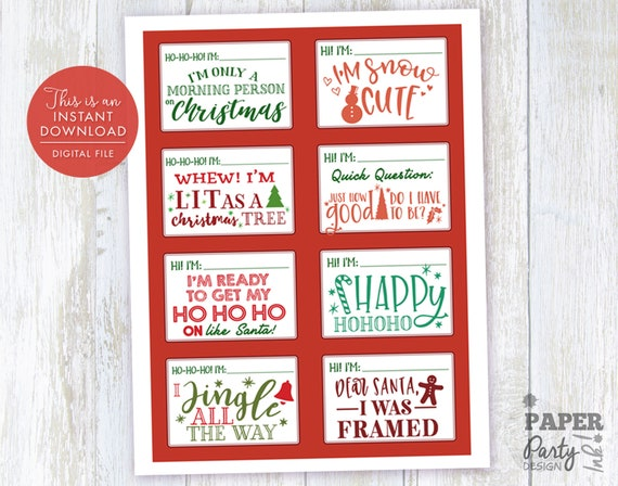 Christmas Party Name Tag Set Christmas Name Tags Christmas Etsy