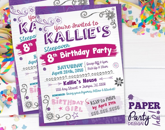 digital sleepover birthday party invitation sleepover 5 etsy