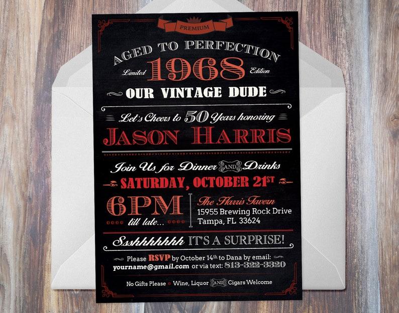 Aged To Perfection Birthday Invitation Vintage Dude Party 5 X 7 Digital Milestone