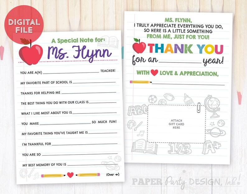 Teacher Appreciation Thank You Note, Teacher Appreciation Printable Mad Lib  Note, Custom Teacher Gift, Teacher Personalized Thank You Note