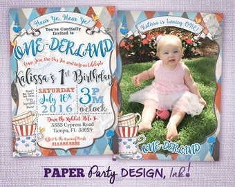 Alice in ONE-derland 1st Birthday Invitation with Photo Traditional Color Scheme, Digital One-derland 1st Birthday Party 2 sided Invitation