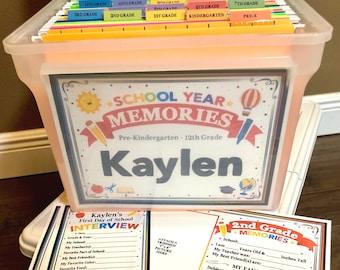 Set of 2 Names- Personalized School Memory Box Printable Kit, DIY School Year Memory Box Printable Filing Kit, DIY School Memories