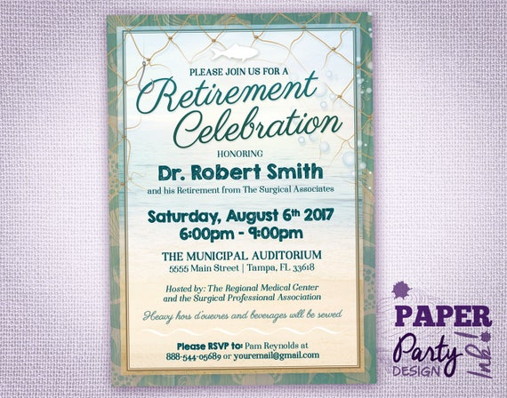 retirement party invitation beach and fish theme 5 x 7 etsy