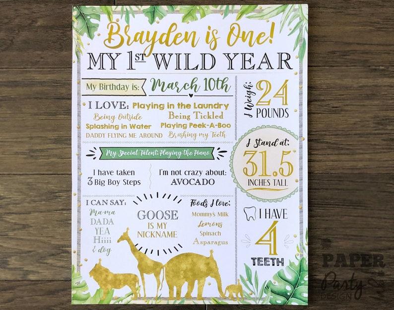 Golden Safari Party Printable Stats Sign Wild ONE Birthday Wild ONE 1st Birthday Stats Poster WildONE 11 x 14 Digital Milestone Poster