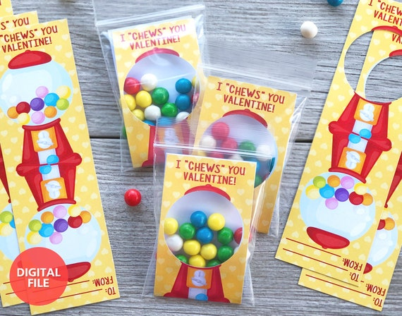 Printable Valentine's Day Gumball Cards I