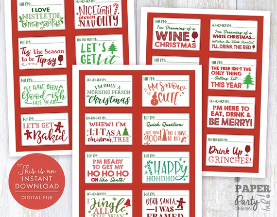Funny Christmas Party Names.Christmas Party Name Tag Set Christmas Name Tags Christmas Name Tag Set Of 24 Christmas Name Tags Digital File Christmas Party Printable