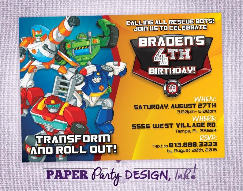 Rescue Bots Birthday Party Invitation