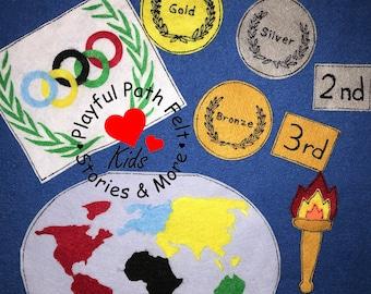 The Olympics, Olympic Felt Story, Continents, Olympic Medals, Olympic Torch, Felt Story, ECE, Daycare, Flannel Story, Olympics, World Felt